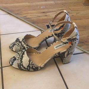 Steve Madden Snakeskin Ankle-Strap Heels